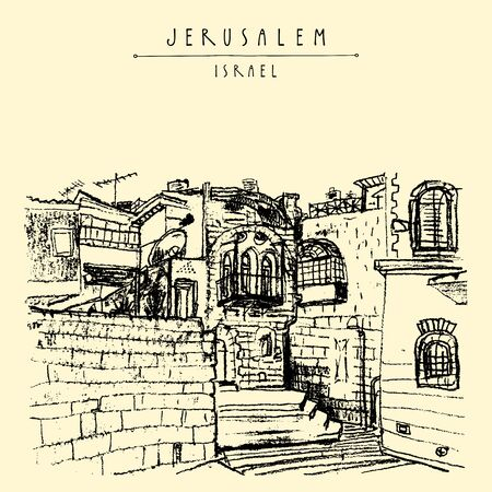Jerusulaem old town. Aged buildings, stairs, windows, balcony.Hand drawing. Travel postcard template. Vector illustration