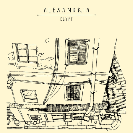 colonial: Old house in Alexandria, Egypt, North Africa. British colonial architecture. Hand-drawn vintage book illustration, postcard or poster template in vector Illustration