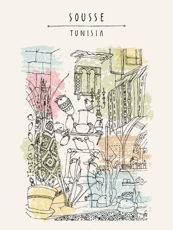 スース、チュニジア、北アフリカのカフェ。エスニック スタイルのインテリア。旅行スケッチ観光ポスター、はがきテンプレート、ベクトルの挿絵