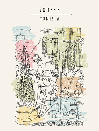 Cafe in Sousse, Tunisia, Northern Africa. Interior in ethnic style. Travel sketchy touristic poster, postcard template, book illustration in vector