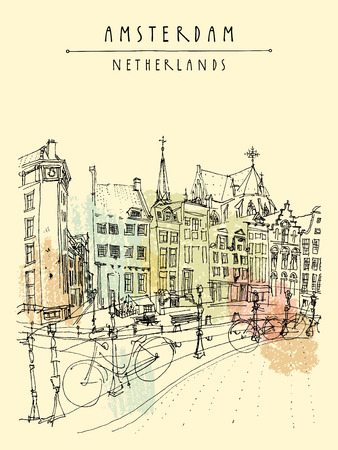 dutch typical: Bridge in Amsterdam, Holland, Netherlands Europe. Dutch traditional historical buildings. Typical Dutch houses and bicycles. Hand drawing. Travel sketch. Book illustration, postcard, poster in vector
