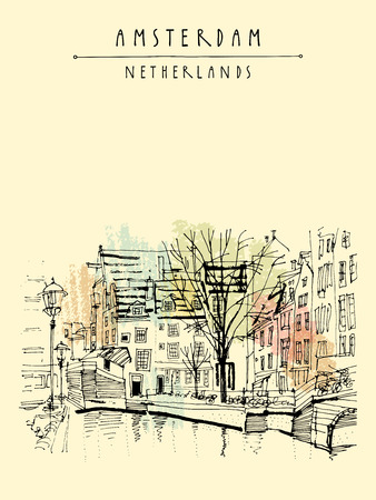 amstel river: Amsterdam, Holland, Netherlands, Europe. View of a canal bank with a tree. Dutch traditional historical buildings. Typical Dutch houses. Hand drawing. Travel sketch. Vector book illustration, postcard