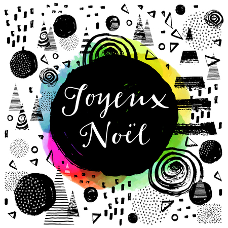 joyeux: Joyeux Noel - French Merry Christmas. Hand lettered greeting card. Modern calligraphy. Trendy abstract graphic design, expressive ink hand drawn elements. Elegant Joyeux Noel hand lettering in vector