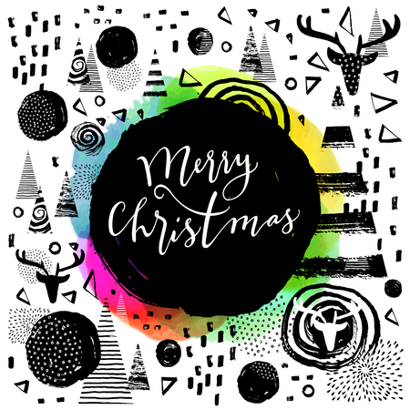 joyeux: Merry Christmas modern calligraphic hand lettered greeting card. Modern calligraphy. Trendy abstract graphic design, expressive ink hand drawn elements. Elegant Merry Christmas hand lettering. Vector Illustration