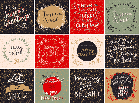 joyeux: Set of Merry Christmas and Happy New Year hand drawn greeting cards in vector