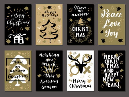 white party: Set of Merry Christmas, Happy New Year, Hello Winter and Happy Holidays vintage hand drawn greeting cards, gift tags, postcards, posters. Calligraphic artwork vector illustration.