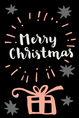 postcard box: Merry Christmas. Vertical vintage hand drawn greeting card, gift tag, postcard, poster with a gift box on black background. Modern calligraphy artwork, vector illustration. Illustration