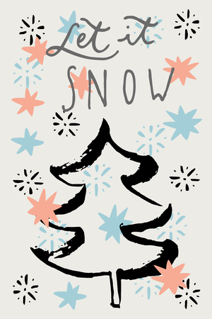 let it snow: Let It Snow. Merry Christmas vintage hand drawn greeting cards, gift tag, postcard, poster. Calligraphic artwork, vector illustration. Illustration