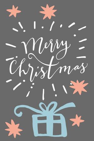 postcard box: Merry Christmas. Vertical vintage hand drawn greeting card, gift tag, postcard, poster with a gift box on grey background. Modern calligraphy artwork, vector illustration.