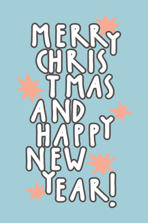 oh: Merry Christmas and Happy New Year vintage hand drawn greeting card, gift tag, postcard, poster on light blue background with stars. Hand lettering artwork, vector illustration.