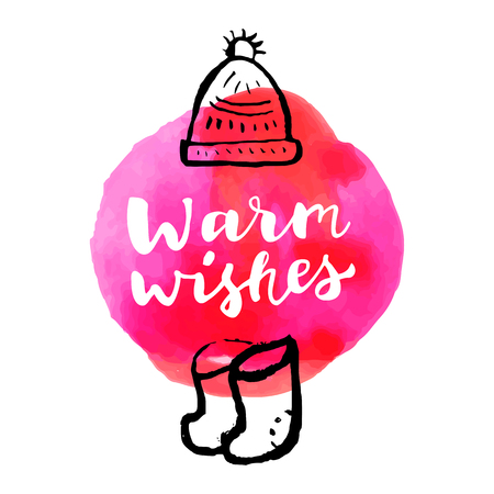 felt: Warm Wishes. Merry Christmas and Happy New Year hand colorful drawn modern calligraphic card with a warm knitted hat and felt boots. Hand lettering and red watercolor splash in vector Illustration