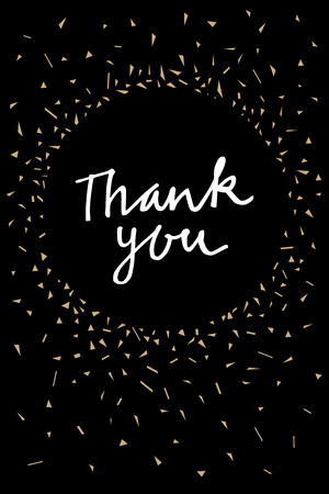 Unique vintage vertical hand written Thank You greeting card. Modern calligraphy. Hand lettered gratitude card with sparkling abstract triangles confetti. Vector illustration