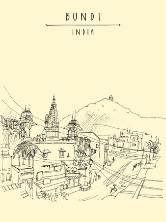 Hindu temple in Bundi, Rajasthan, India. Street in old town. Artistic drawing. Indian travel book illustration, postcard or poster in vector Illustration