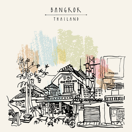 Bangkok, Thailand, Asia. Old houses in Khao San Road touristic area. Travel sketch. Vintage hand drawn touristic postcard. Vector illustration