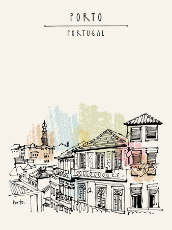 Porto (Oporto), Portugal, Europe. Street in old town, nice houses and a church. Hand drawing in retro style. Travel sketch. Vintage touristic postcard, poster, calendar or book illustration in vector