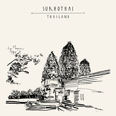 Wat Si Sawai in Sukhothai Historical Park, Thailand. Hand drawn vintage touristic postcard in vector