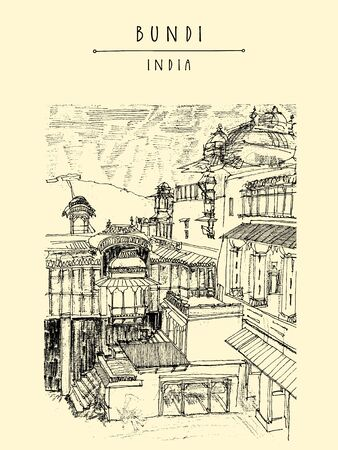 Bundi, Rajasthan, India. Maharajah's palace. Artistic drawing. Indian travel postcard or poster  with hand lettering