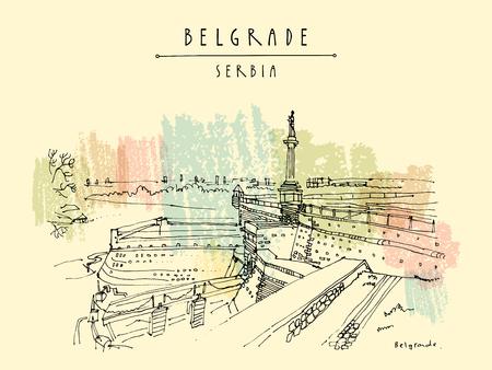 Festung Kalemegdan und Viktor Denkmal in Belgrad, Serbien. Handzeichnung im Retro-Stil. Reise Skizze. Weinlese-touristische Postkarte, Poster, Kalender oder Buchillustration in Vektor
