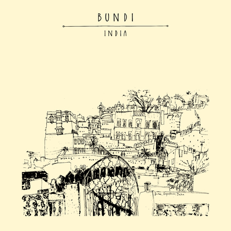 Bundi, Rajasthan, India. Maharajah's palace. Artistic drawing. Indian travel postcard or poster in vector. Illustration