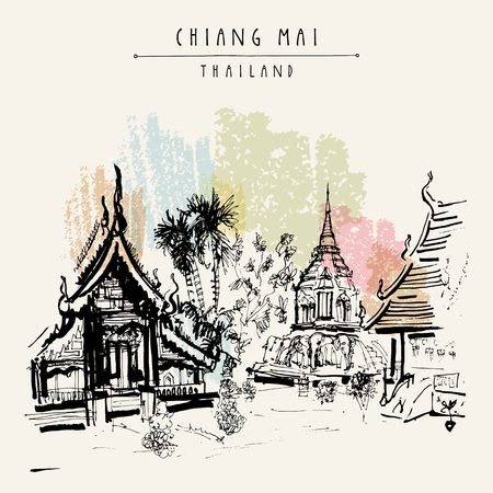 thailand culture: Chiang Mai, Thailand, Southeast Asia. The oldest Buddhist temple in town - Wat Chiang Maan. Hand drawn postcard or poster in vector