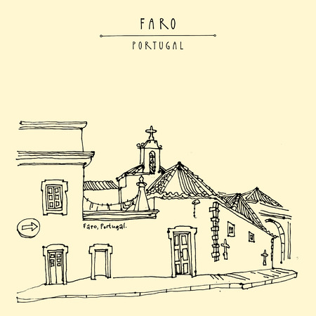 Faro, Portugal, Europe. Street in old town, nice houses and a church. Hand drawing in retro style. Travel sketch. Vintage touristic postcard, poster, calendar or book illustration in vector 矢量图像