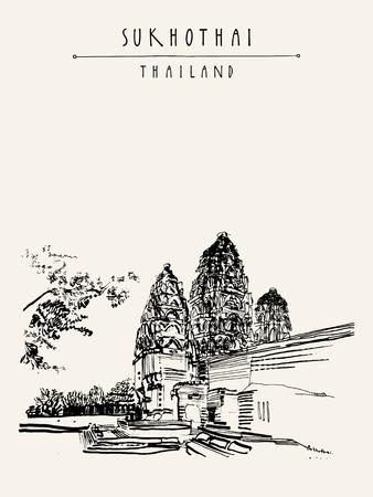 Wat Si Sawai en parc historique de Sukhothai, Thaïlande. Hand drawn carte postale touristique vintage dans vecteur