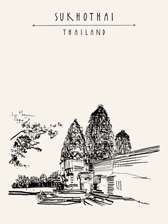 temple thailand: Wat Si Sawai in Sukhothai Historical Park, Thailand. Hand drawn vintage touristic postcard in vector