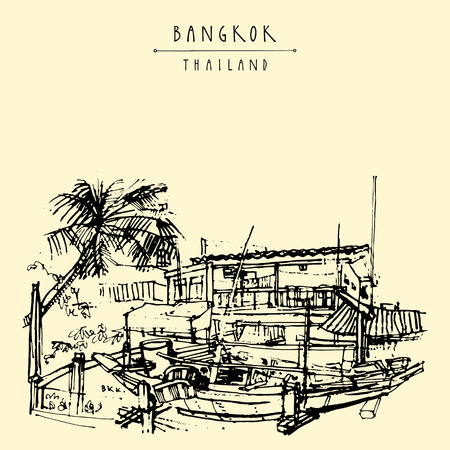 laid: Bangkok, Thailand, Asia. Old laid back traditional houses and a boat in a poor neighborhood. Travel sketch. Artistic vintage hand drawn touristic postcard. Vector illustration