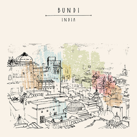 Bundi, Rajasthan, India. Travel postcard or poster with hand drawing in vector.