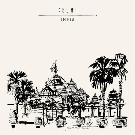postcard: Akshardham temple in New Delhi, India. Hand drawn cityscape sketch. Travel art. Vintage hand drawn postcard in vector