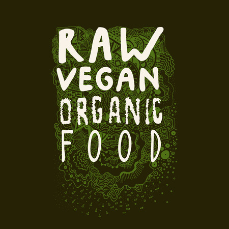 Raw Vegan Organic Food. Hand drawn sign, label, badge with awesome zen inspired doodle background in vector Illustration