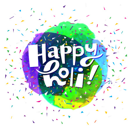 holi: Colorful artistic hand drawn Happy Holi card. Watercolor splatter background and confetti isolated on white background. Vector illustration