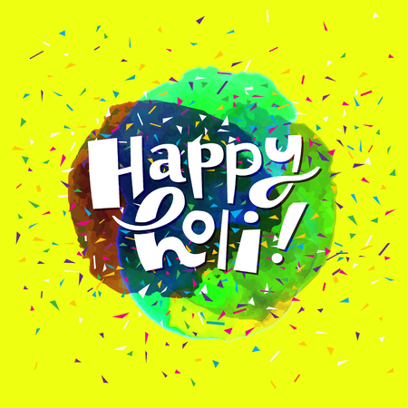 Colorful artistic hand drawn Happy Holi card. Watercolor splatter background and confetti isolated on yellow background. Vector illustration