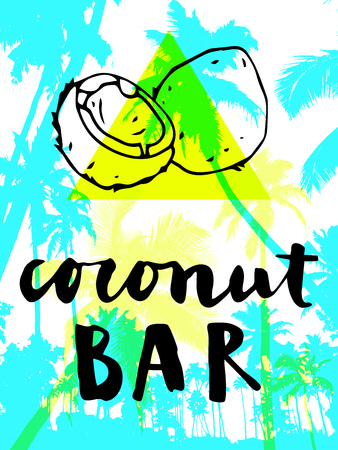optimistic: Coconut Bar modern calligraphy. Summer restaurant design with flat palm trees on bright colorful geometric background. Vivid cheerful optimistic summertime flyer, poster, fabric print design in vector