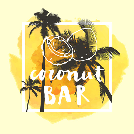 optimistic: Coconut Bar  modern calligraphy. Summer restaurant design with flat palm trees on bright colorful watercolor background. Vivid cheerful optimistic summertime flyer, poster, fabric print design. Vector