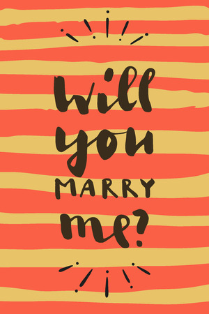 Will You Marry Me? Hand drawn calligraphic Valentines Day greeting card on striped background in vector Illustration