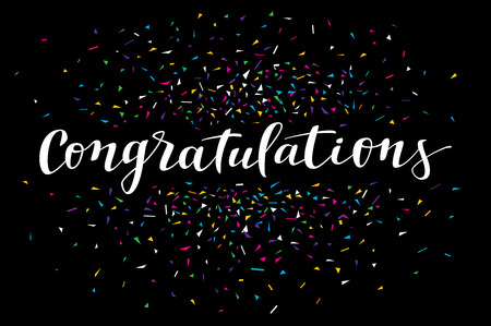Congratulations, modern calligraphy. Colorful fancy calligraphic greeting card with confetti on black background Illustration
