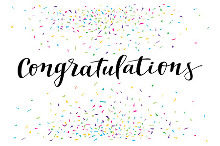 Congratulations, modern calligraphy. Colorful fancy calligraphic greeting card with confetti on white background