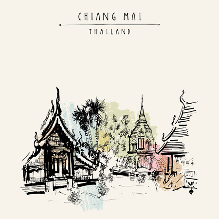 Chiang Mai, Thailand, Southeast Asia. The oldest Buddhist temple in town - Wat Chiang Maan. Hand drawn postcard or poster in vector