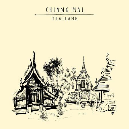 チェンマイ、タイ、東南アジア。ワット チェン マアーン町で最古の仏教寺院。手描き下ろしポストカードまたはベクトルのポスター  イラスト・ベクター素材