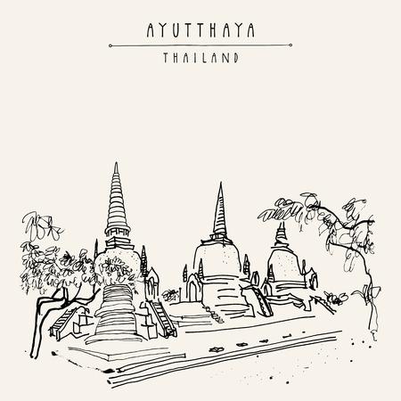 Phra 스리랑카 Samphet, 아유타야 역사 공원, 태국에서 고 대 불교 사원. 손으로 그린 빈티지 touristic 엽서 벡터에서
