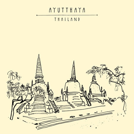 Phra Sri Samphet, ancient Buddhist temple in Ayutthaya Historical Park, Thailand. Hand drawn vintage touristic postcard in vector Illustration