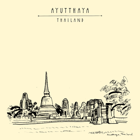 Wat Mahathat, ancient Buddhist temple in Ayutthaya Historical Park, Thailand. Hand drawn vintage touristic postcard in vector Illustration