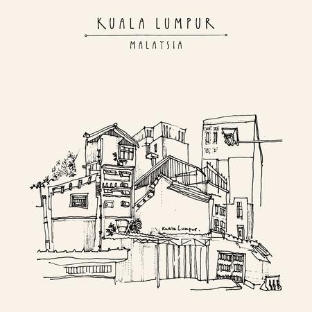 Kuala Lumpur, Maleisië. Casual mening van gebouwen in China Town. Travel ansichtkaart met de vrije hand schetsmatige en hand beletterd titel in vector
