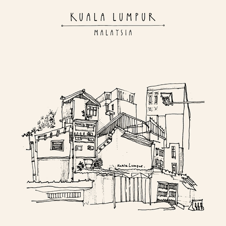 Kuala Lumpur, Malaysia. Casual view of buildings in China Town. Travel postcard with freehand sketchy drawing and hand lettered title in vector