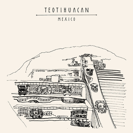 Temple of the Feathered Serpent (Quetzalcoatl), Teotihuacan, Mexico, Latin America. Pyramid reliefs. Travel sketch. Hand drawn vintage tourism postcard in vector Ilustrace