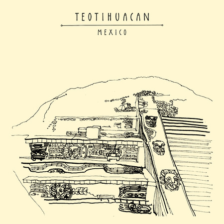 Temple of the Feathered Serpent (Quetzalcoatl), Teotihuacan, Mexico, Latin America. Pyramid reliefs. Travel sketch. Hand drawn vintage tourism postcard in vector Illustration