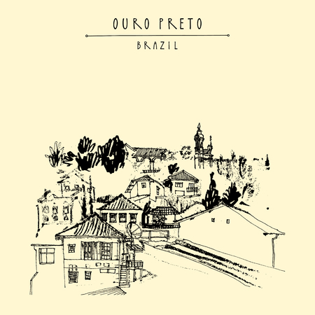 parish: Houses and churches on the hills of Ouro Preto gorgeous town, Minas Gerais state, Brazil, South America. Vintage hand drawn postcard, book illustration or poster in vector