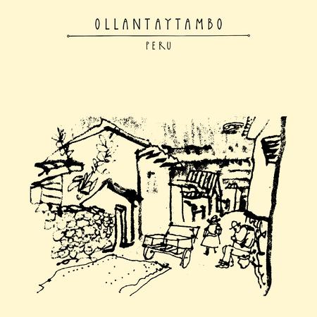 Une rue à Ollantaytambo, au Pérou, en Amérique du Sud. Inca Vallée Sacrée. Ville historique des Incas. Hand drawn carte postale vintage, affiche, calendrier ou illustration de livre dans le vecteur
