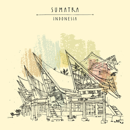 Houses on lake Toba, Sumatra, Indonesia, Asia. Unique traditional Batak tribal architechture. Travel sketch. Hand-drawn vintage book illustration, greeting card, postcard or poster template in vector Çizim